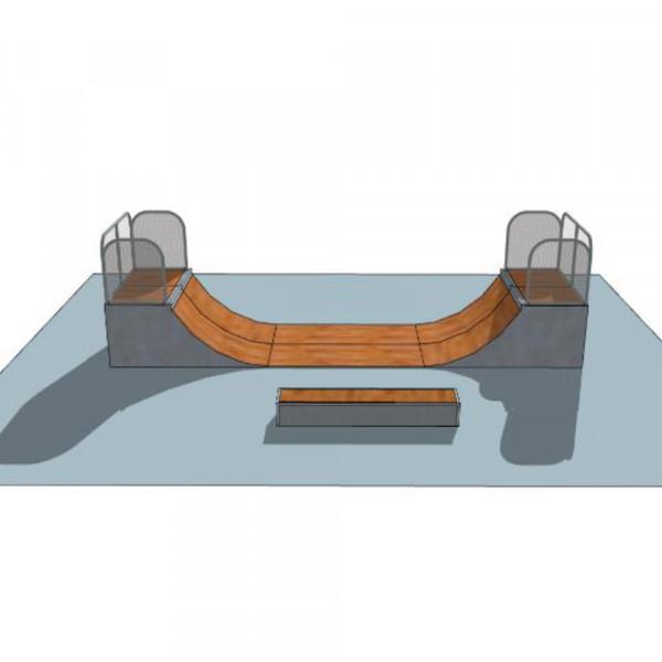 PISTA DA SKATEBOARD DOUBLE RAMP DIM CM 944 X 510 X 120 (H)